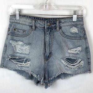 """BDG high rise """"Dree"""" cheeky jean shorts"""